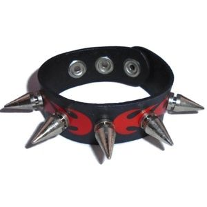 PUNK Flames Spike Leather Cuff Snap Bracelet NEW